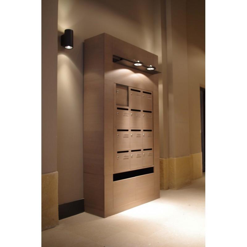 ensemble de boites aux lettres int rieures haut de gamme en bois. Black Bedroom Furniture Sets. Home Design Ideas
