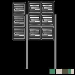 Bloc 9 boites aux lettres avec pieds de fixation