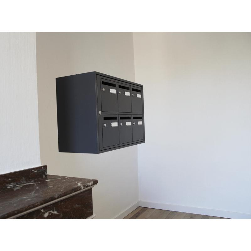 bloc 6 boites aux lettres acier int rieur ral 7024 gris anthracite. Black Bedroom Furniture Sets. Home Design Ideas