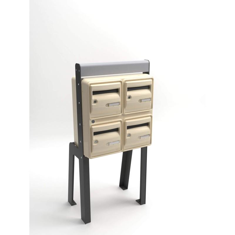 4 boites aux lettres pieds fixation sur sol aux normes haut de gamme. Black Bedroom Furniture Sets. Home Design Ideas