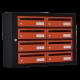 Bloc 8 Boites à lettres Essentielle 250mm Cadre Noir - Porte Orange