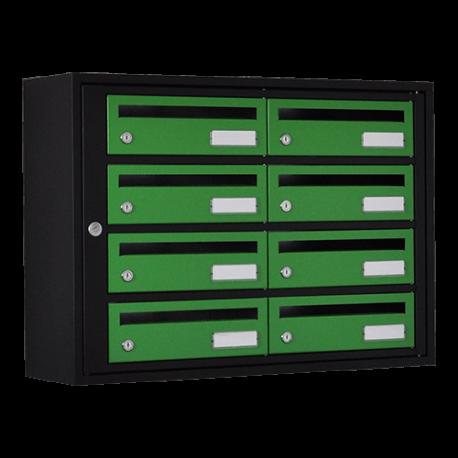 Bloc 8 Boites à lettres Essentielle 250mm Cadre Noir - Porte Verte