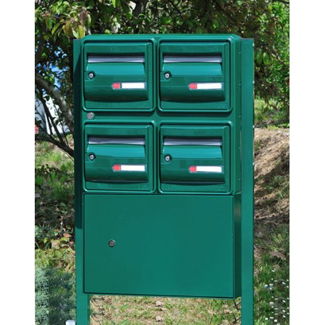 Bloc 4 Boites aux lettres et Boite à colis vert avec pieds platines