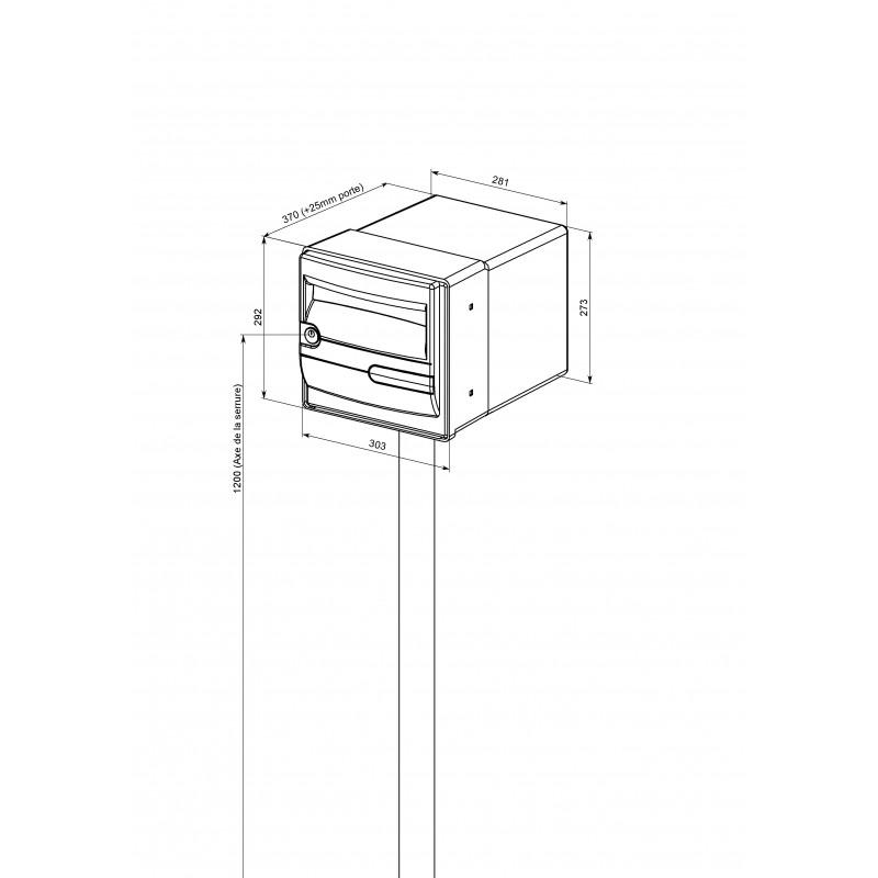pied de fixation pour boite aux lettres individuelle en. Black Bedroom Furniture Sets. Home Design Ideas