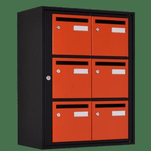 boite aux lettres couleur noire mate orange
