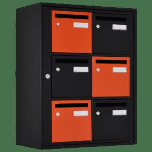 boite aux lettres couleur noire mate orange quadrilage